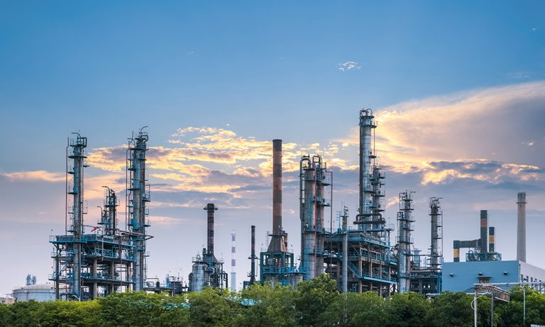 petrochemical plant in sunset , industrial landscape background